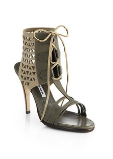 Manolo Blahnik Cutout Lace-Up Sandals