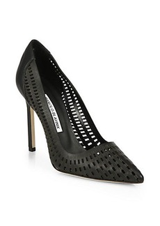 Manolo Blahnik Cutout Leather Pumps