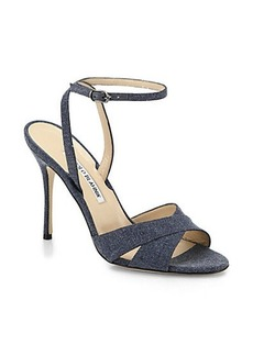 Manolo Blahnik Denim Ankle-Strap Sandals
