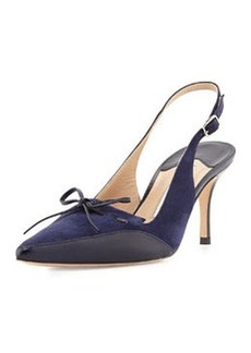 Manolo Blahnik Drumma Pointed-Toe Suede Slingback Pump, Blue