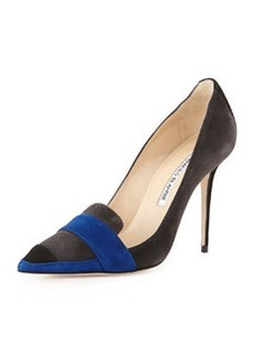 Manolo Blahnik Durut Multicolor Suede Loafer Pump, Gray/Cobalt/Black