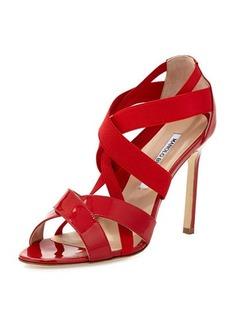 Manolo Blahnik Eletti Patent Crisscross Sandal