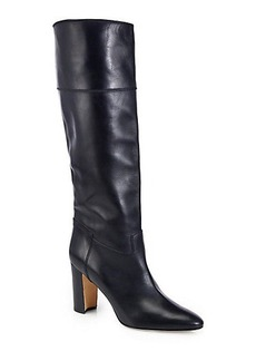 Manolo Blahnik Equestrahi Leather Knee-High Boots