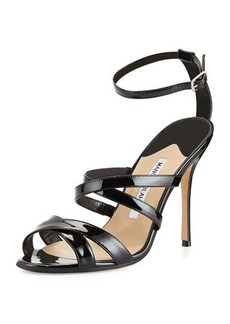 Manolo Blahnik Eremito Patent Leather Strappy Sandal, Black
