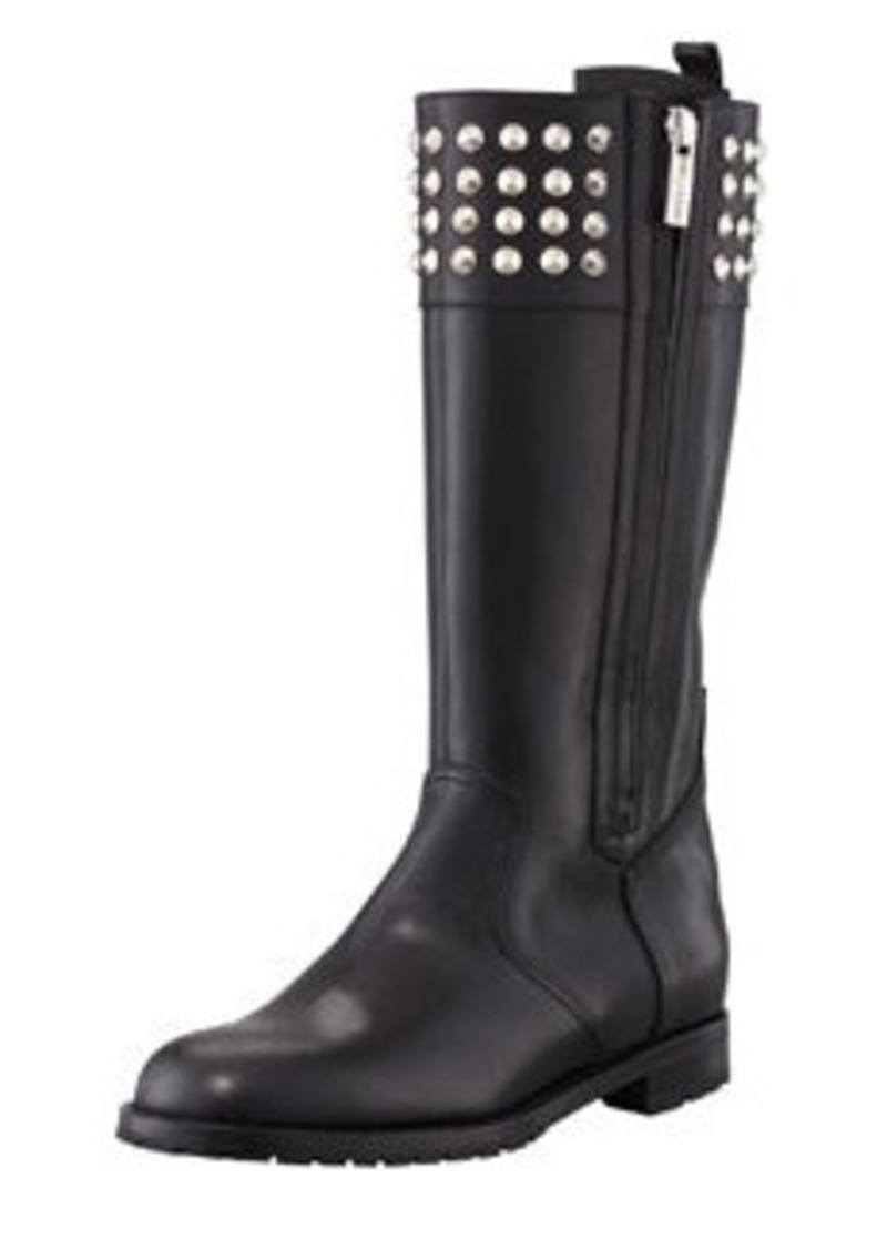 Manolo Blahnik Ermebor Studded Leather Mid-Calf Boot, Black