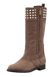 Manolo Blahnik Ermebor Studded-Top Flat Mid-Calf Boot