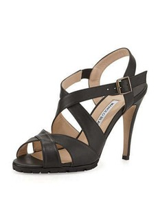 Manolo Blahnik Etola Leather Crisscross Sandal, Black