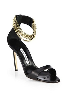 Manolo Blahnik Evolu Leather Chain-Strap Sandals