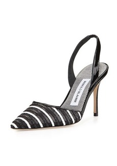 Manolo Blahnik Fabio Striped Patent Leather Slingback Pump