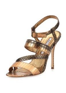 Manolo Blahnik Felix Strappy Snakeskin Sandal, Bronze