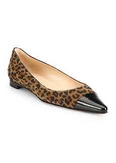 Manolo Blahnik Flatby Leopard-Print Suede Cap-Toe Flats