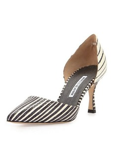Manolo Blahnik Ganici Striped Snakeskin d'Orsay Pump, Black/White