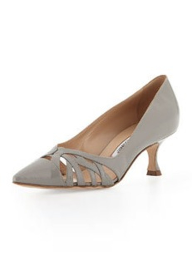 Manolo Blahnik Gayatri Patent Cutout Low-Heel Pump, Gray