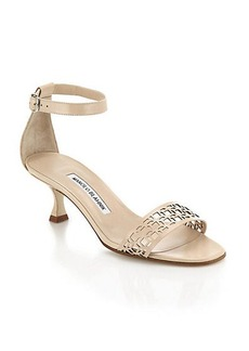 Manolo Blahnik Geo Leather Ankle-Strap Sandals