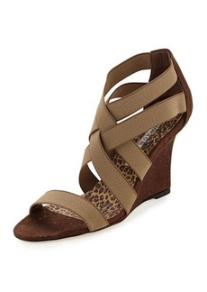 Manolo Blahnik Glassa Strappy Cork Wedge Sandal, Taupe