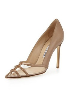 Manolo Blahnik Gotria Metallic Point-Toe Pump, Nude