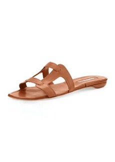 Manolo Blahnik Grella Leather Flat Sandal, Luggage