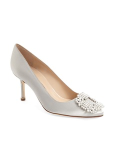 Manolo Blahnik 'Hangisi' Bead Embellished Pump (Women)