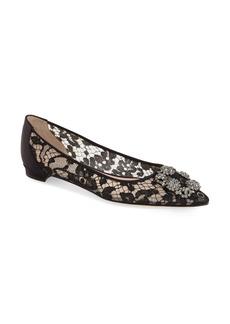 Manolo Blahnik 'Hangisilala' Jeweled Pointy Toe Lace Flat (Women)