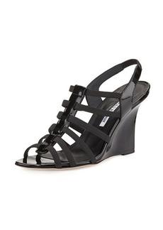 Manolo Blahnik Iaggia Patent Wedge Sandal