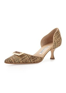 Manolo Blahnik Intrecdo Woven d'Orsay Pump, Brown