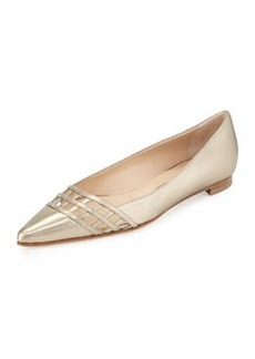 Manolo Blahnik Jabiflat Lattice Point-Toe Flat, Metallic Gray