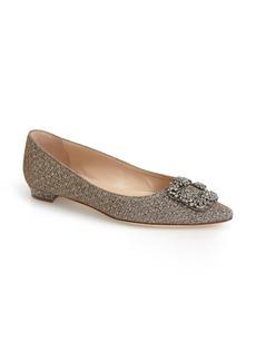 Manolo Blahnik Jeweled Pointy Toe Flat (Women)