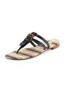 Manolo Blahnik Kinabal Buckled Thong Sandal, Navy Blue
