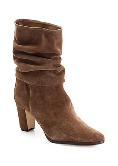 Manolo Blahnik Knight Slouchy Suede Mid-Calf Boots
