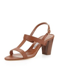 Manolo Blahnik Labruni T-Strap Leather Sandal, Tan