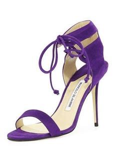 Manolo Blahnik Laramod Suede Ankle-Wrap Sandal, Purple