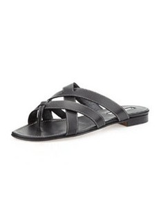 Manolo Blahnik Lascia Woven Leather Thong Sandal, Black