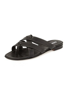Manolo Blahnik Lascia Woven Leather Thong Sandal