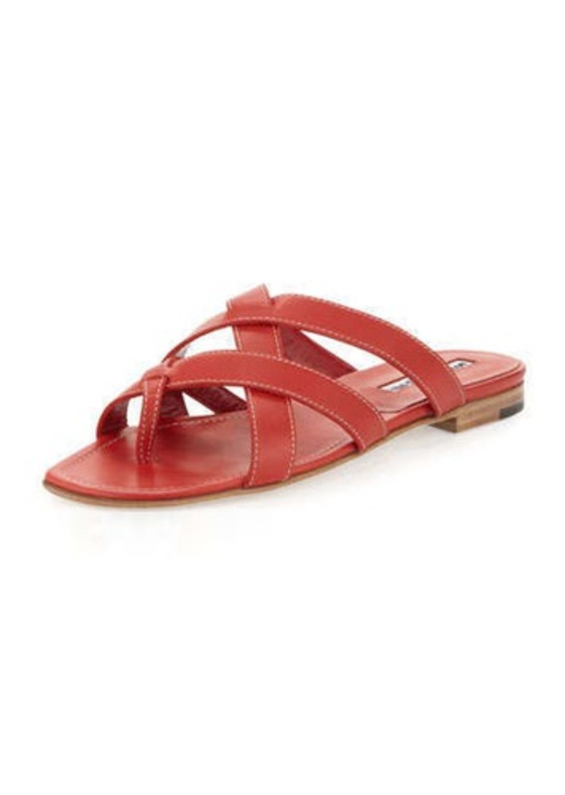 Manolo Blahnik Lascia Woven Leather Thong Sandal, Red