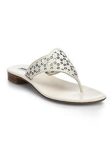 Manolo Blahnik Laser-Cut Leather Thong Sandals