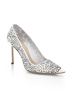 Manolo Blahnik Laser-Cut Patent Leather Pumps
