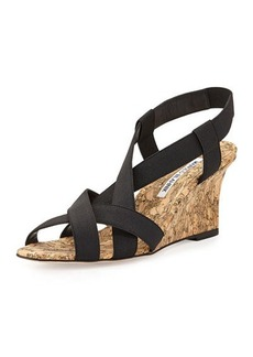 Manolo Blahnik Lastiwe Strappy Elastic Cork-Wedge Sandal, Black
