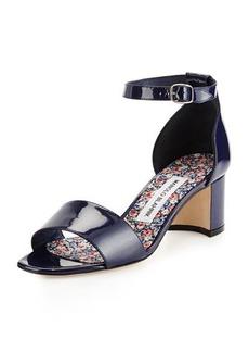 Manolo Blahnik Lauratom Shimmer Patent Ankle-Wrap Sandal  Lauratom Shimmer Patent Ankle-Wrap Sandal
