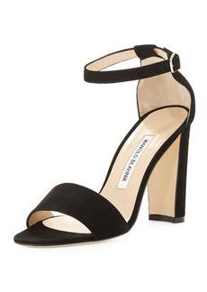 Manolo Blahnik Lauratop Suede Chunky-Heel Sandal, Black