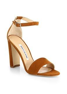 Manolo Blahnik Lauratopri Suede Ankle-Strap Sandals