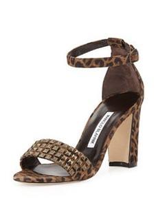 Manolo Blahnik Lauratostud Leopard-Print Sandal