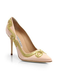 Manolo Blahnik Leather Scroll Satin Pumps