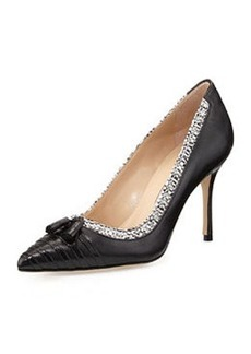 Manolo Blahnik Lefino Leather/Tweed Tassel Pump