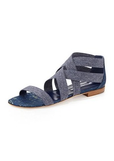 Manolo Blahnik Leoni Denim-Stretch Flat Sandal, Blue
