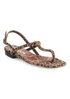 Manolo Blahnik Leopard-Print Suede Slingback Sandals