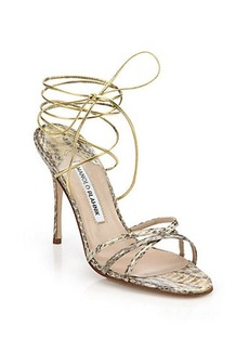 Manolo Blahnik Leva Snakeskin Sandals
