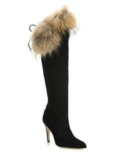 Manolo Blahnik Likansk Fur-Trimmed Suede Knee Boots