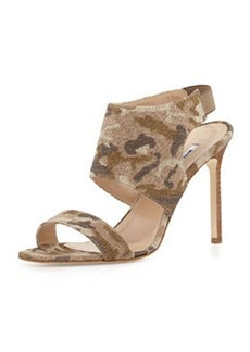 Manolo Blahnik Loyal Linen Canvas Sandal, Camo