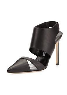 Manolo Blahnik Loyalclo Ankle-Wrap Leather Pump, Black