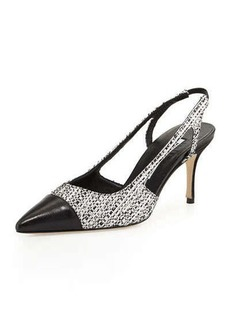 Manolo Blahnik Mastael Tweed Slingback Pump, Black/White